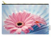Close Up Of Two Pink Gerbera Daisies Carry-all Pouch