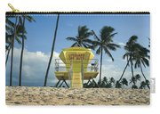 Closed Lifeguard Shack On A Deserted Tropical Beach With Palm Tr Carry-all Pouch