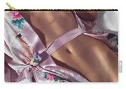 Closeup Of Beautiful Nude Asian Woman Body In Pink Kimono Carry-all Pouch