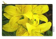 Cluster Of Yellow Lilly Flowers In The Garden Carry-all Pouch