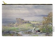 Coast Scene With Children In The Foreground, 19th Century Carry-all Pouch