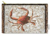 Coastal Crab Decorative Painting Greek Border Design By Madart Studios Carry-all Pouch