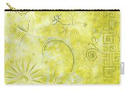 Coastal Decorative Citron Green Floral Greek Checkers Pattern Art Green Whimsy By Madart Carry-all Pouch