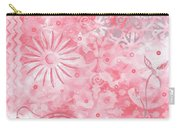 Coastal Decorative Pink Peach Floral Chevron Pattern Art Pink Whimsy By Madart Carry-all Pouch