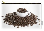 Coffee Beans And Coffee Cup Isolated On White Carry-all Pouch