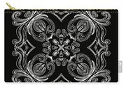 Coffee Flowers 6 Bw Ornate Medallion Carry-all Pouch