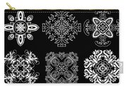 Coffee Flowers Ornate Medallions Bw 6 Peice Collage Carry-all Pouch