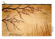 Coffee Painting Cherry Blossoms Carry-all Pouch by Georgeta  Blanaru