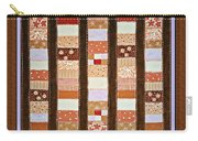 Coin Quilt -  Painting - Brown And White Patches Carry-all Pouch