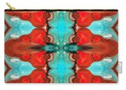 Color Chant - Red And Aqua Pattern Art By Sharon Cummings Carry-all Pouch
