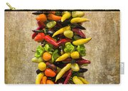 Color Peppers From Spain With Textured Background Dsc01467 Carry-all Pouch