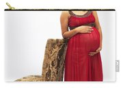 Color Portrait Young Pregnant Spanish Woman Leaning On Chair Carry-all Pouch