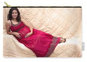 Color Portrait Young Pregnant Spanish Woman Reclining Carry-all Pouch