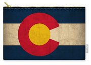 Colorado State Flag Art On Worn Canvas Carry-all Pouch by Design Turnpike