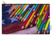 Colored Pencils On Wooden Flag Carry-all Pouch