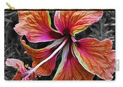 Colorful Hibiscus On Black And White 2 Carry-all Pouch by Kaye Menner