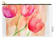 Colorful Illustration Of Red Tulips Flowers  Carry-all Pouch
