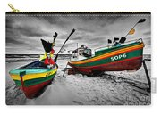 Colorful Retro Ship Boats On The Beach Carry-all Pouch