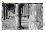 Columns At The Church Of Nativity Black And White Vertical Carry-all Pouch