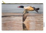 Common Merganser In Flight Square Carry-all Pouch