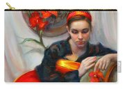 Common Threads - Divine Feminine In Silk Red Dress Carry-all Pouch by Talya Johnson