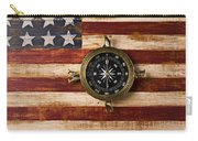 Compass On Wooden Folk Art Flag Carry-all Pouch by Garry Gay
