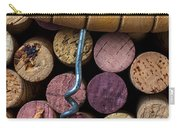 Corkscrew On Top Of Wine Corks Carry-all Pouch by Garry Gay