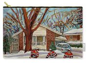 Cormac And Friends Neighborhood Hockey Game Ottawa Suburban City Scene Carry-all Pouch