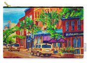Corona Theatre Presents The Burgundy Lion Rue Notre Dame Montreal Street Scene By Carole Spandau Carry-all Pouch