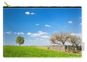 Countryside Landscape During Spring With Solitary Trees And Fence Carry-all Pouch