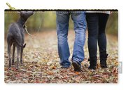 Couple And Dog Autumn Or Fall Carry-all Pouch