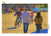 Couples Summer In The City Walking Biking Strolling With Baby Carriage Art Of Montreal Street Scene Carry-all Pouch