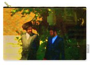 Covenant Conversation Two Men Of God Hasidic Community Montreal City Scene Rabbinical Art Carole Spa Carry-all Pouch
