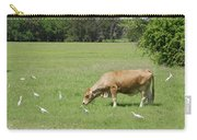 Cow Grazing With Egret Carry-all Pouch