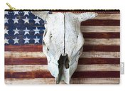 Cow Skull On Folk Art American Flag Carry-all Pouch