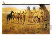 Cowboy Bargaining For The Indian Girl Carry-all Pouch by Charles Russell