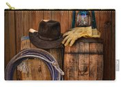Cowboy Hat And Bronco Riding Gloves Carry-all Pouch by Paul Ward