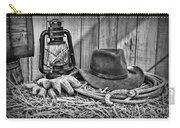 Cowboy Hat And Rodeo Lasso In A Black And White Carry-all Pouch by Paul Ward