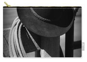 Cowboy Hat On Fence Post In Black And White Carry-all Pouch