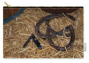 Cowboy Theme - Horseshoes And Whittling Knife Carry-all Pouch by Paul Ward