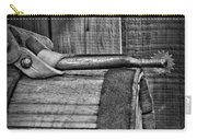 Cowboy Themed Wood Barrel And Spur In Black And White Carry-all Pouch