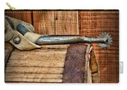 Cowboy Themed Wood Barrel And Spur Carry-all Pouch by Paul Ward