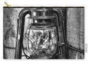 Cowboy Themed Wood Barrels And Lantern In Black And White Carry-all Pouch