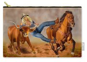 Cowgirl Steer Wrestling Carry-all Pouch