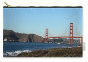 Crashing Waves And The Golden Gate Bridge Carry-all Pouch by Linda Woods