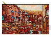 Crescent Street Family Stroll  Montreal City In Autumn City Scene Paintings Carole Spandau Carry-all Pouch