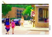 Crossing Notre Dame At Charlevoix To Dilallo Burger Montreal Summer City Scene Carole Spandau Carry-all Pouch