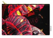 Croton Leaves In Black And Red Carry-all Pouch