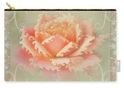 Curlyicue Peach Rose With Flourshis   Square Carry-all Pouch