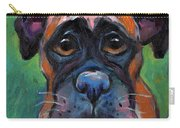 Cute Boxer Puppy Dog With Big Eyes Painting Carry-all Pouch by Svetlana Novikova